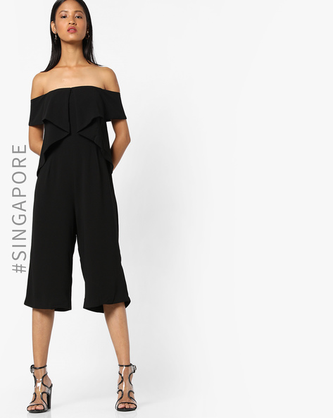 Playsuit With Off-Shoulder Sleeves By MDS ( Black )