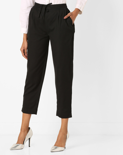 Ankle-Length Pants With Waist Tie-Up By Bitterlime ( Black )