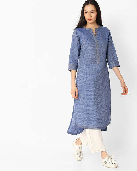 Printed High-Low Kurta By Jaipur Kurti ( Blue )