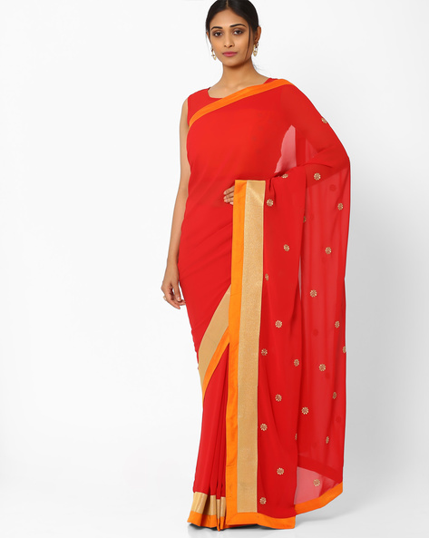 Georgette Saree With Embroidered Pallu By AJIO ( Red )
