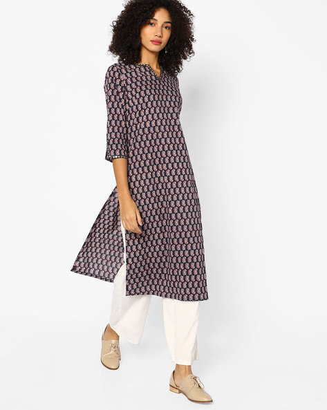 Paisley Print Straight Kurta With Slit Sleeve Hems By AJIO ( Navy )