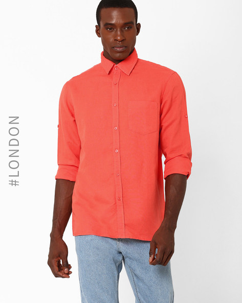 Linen Shirt With Patch Pocket By Marks & Spencer ( Red )