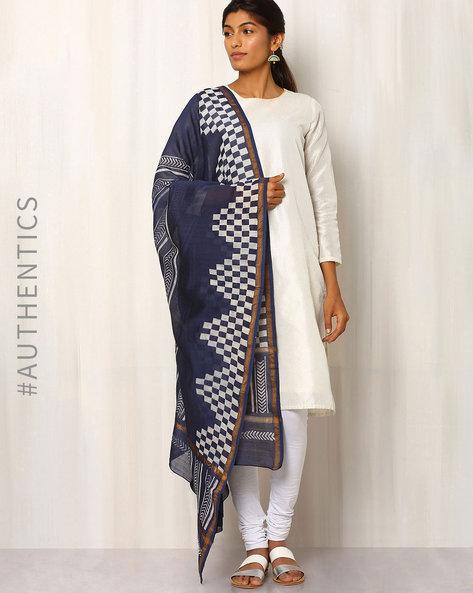Hand Block Print Chanderi Dupatta By Keri ( Indigo ) - 460014722001