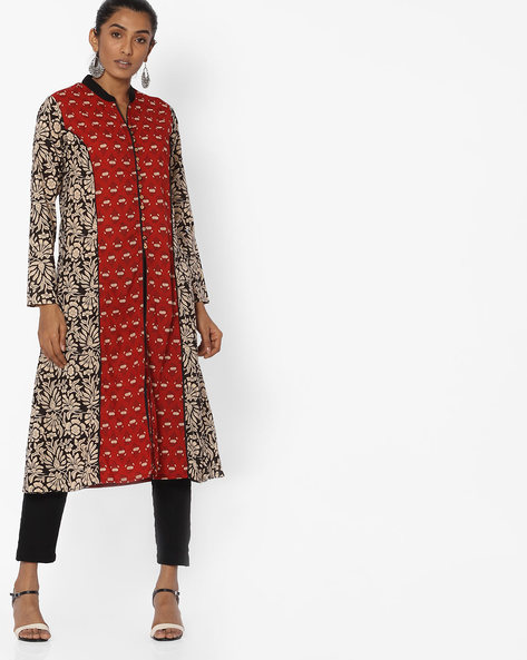 Floral Print Kurta With Front Slit By Jiyaa ( Rust )