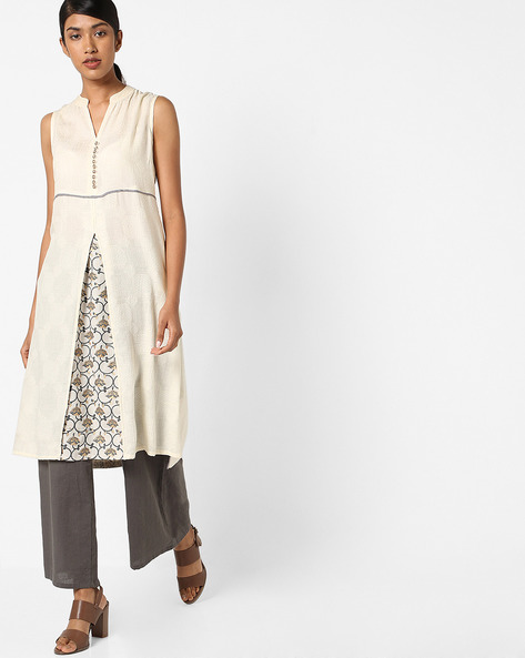 Sleeveless Kurta With Mandarin Collar By AJIO ( Offwhite )