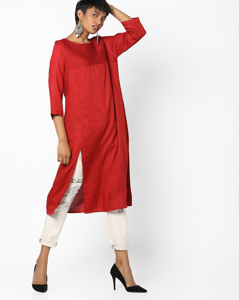Self-Design Kurta With Slit Hemline By PE IW Casual ( Red )