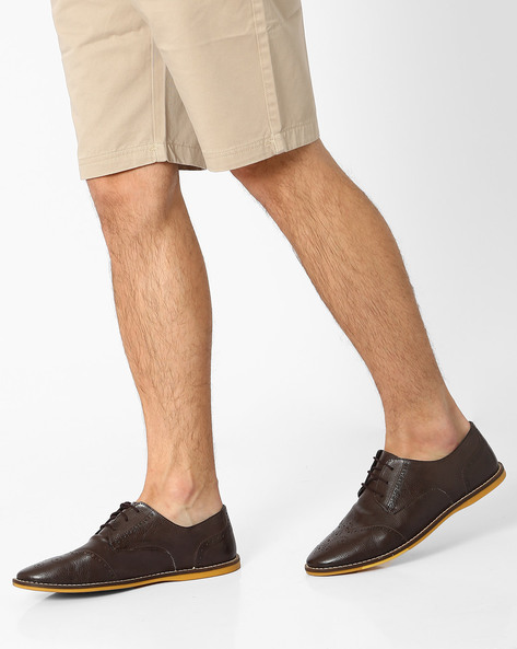 Faux-Leather Derby Shoes With Brouging By Knotty Derby ( Darkbrown )