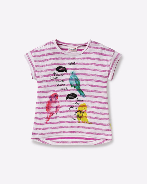 Printed Cotton T-shirt By COCCODRILLO ( Pink )
