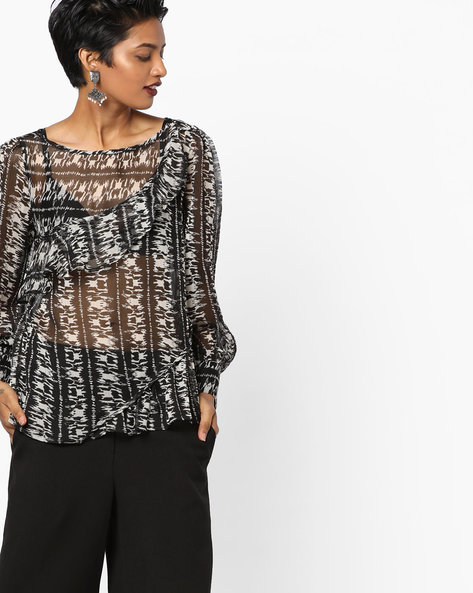 Printed Sheer Top By Oxolloxo ( Black )