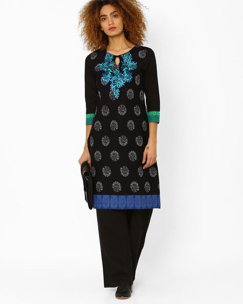 Printed Cotton Straight Kurta By Kifahari ( Black )