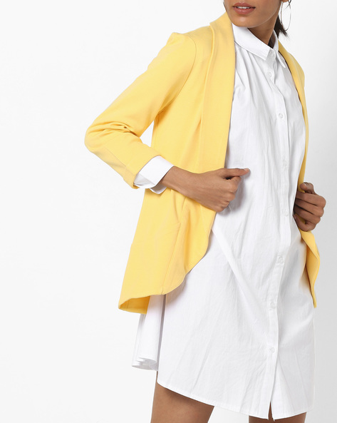 Front-Open Blazer With Shawl Lapel By Vero Moda ( Yellow )