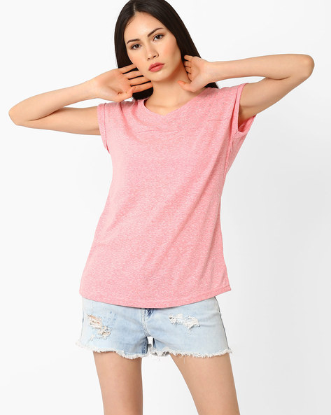 Cotton Top With Short Sleeves By Fame Forever ( Peach )
