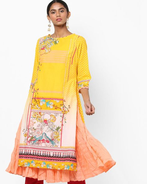 Printed Layered Flared Kurta By Biba ( Yellow )