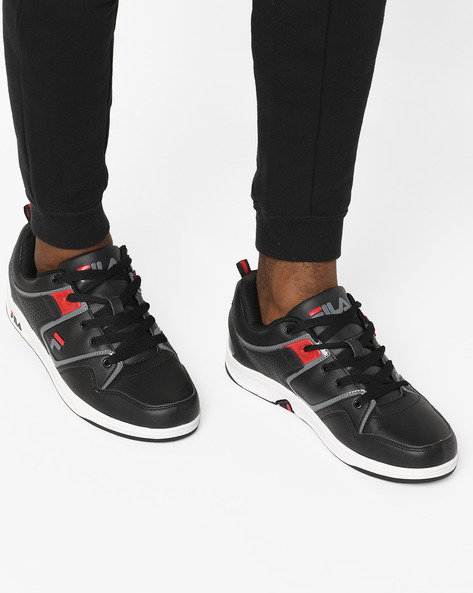 Textured Lace-Up Shoes By FILA ( Black )