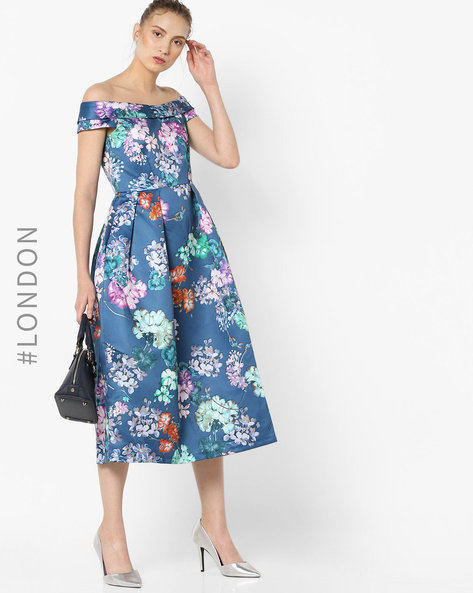 Off-Shoulder Floral Print Dress By Closet London ( Multi )