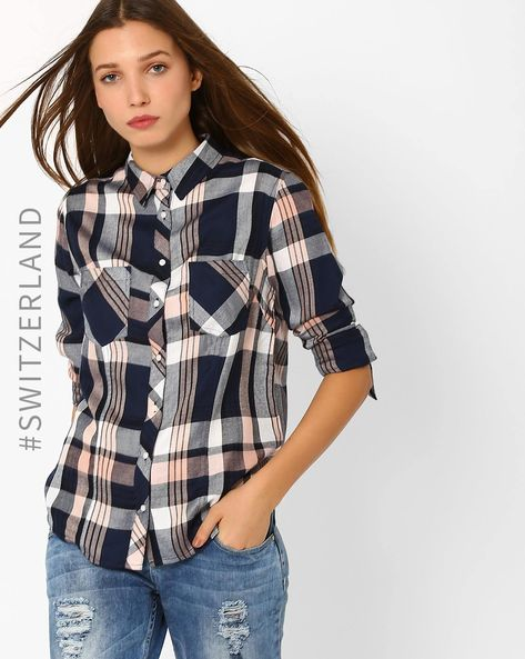 Checked Shirt With Patch Pockets By TALLY WEiJL ( Blue )