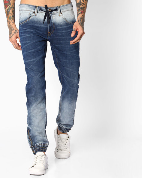 Ombre-Dyed Denim Joggers By AJIO ( Blue )