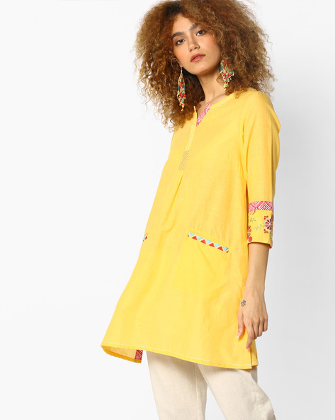 Tunic With Insert Pockets By AJIO ( Yellow )
