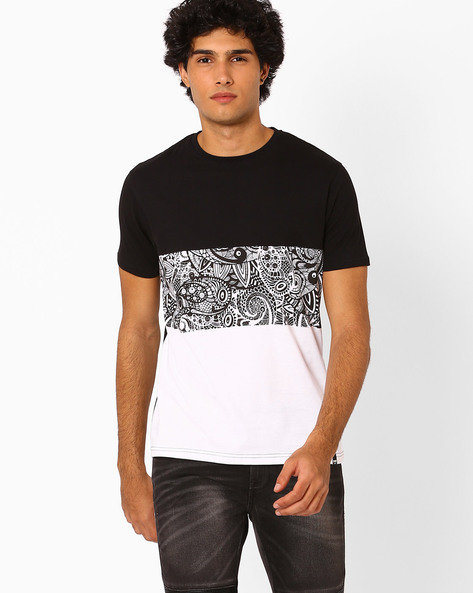 Colourblock Printed T-shirt By Garcon ( Multi )