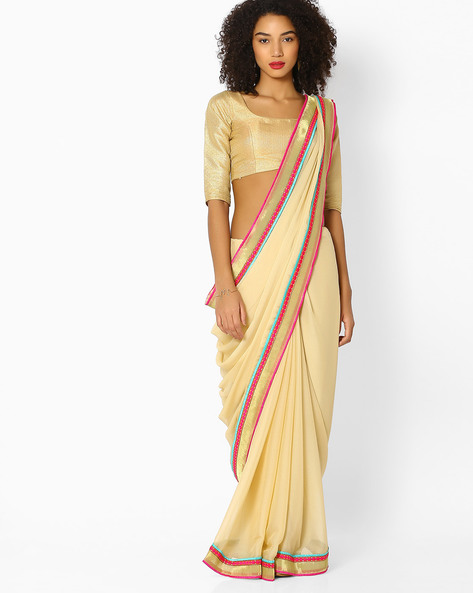 Textured Saree With Embroidered Border By Vastrangi ( Beige )
