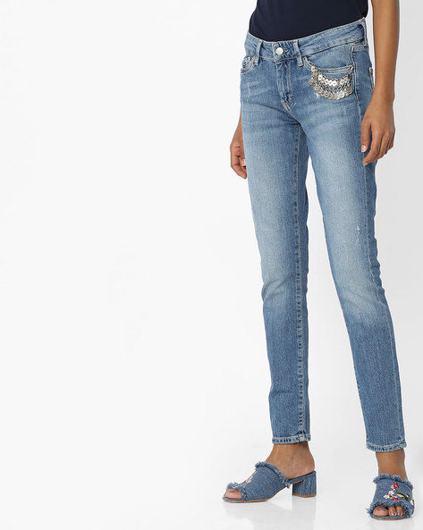 Lightly Washed Distressed Jeans By Pepe Jeans ( Blue )