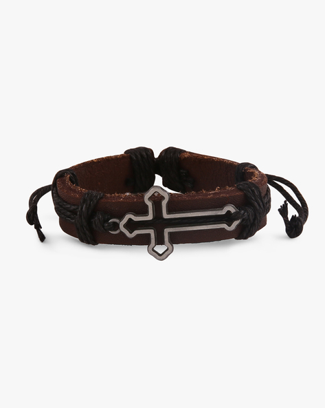Faux-Leather Bracelet By ALPHA MAN ( Black )
