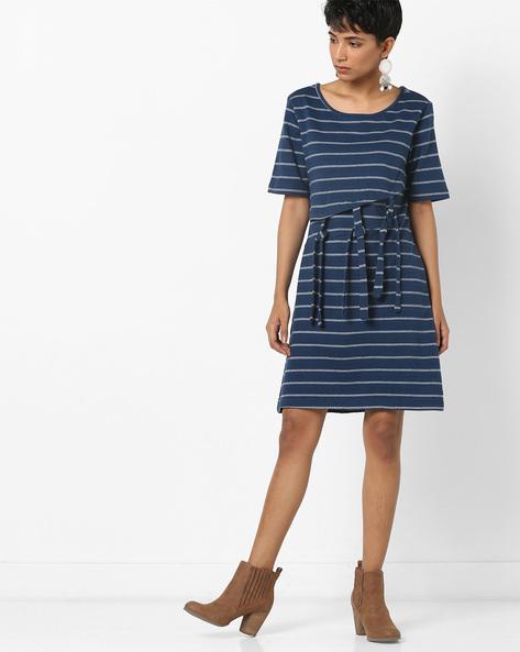 Striped Layered Dress With Tie-Ups By AJIO ( Navy )