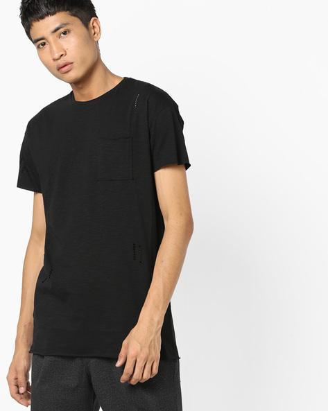 Longline Crew-Neck T-shirt With Cut-Outs By AJIO ( Black )