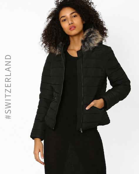 Quilted Jacket With Fur Trim Hood By TALLY WEiJL ( Black )
