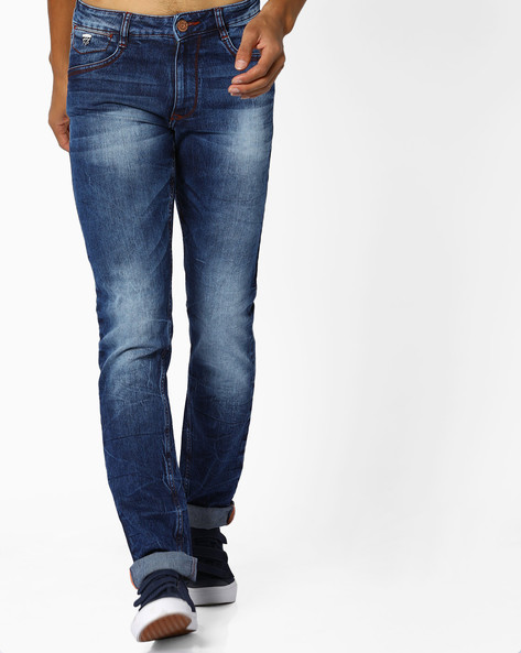 Slim Fit Jeans With Whiskers By JOHN PLAYERS ( Ltblue )