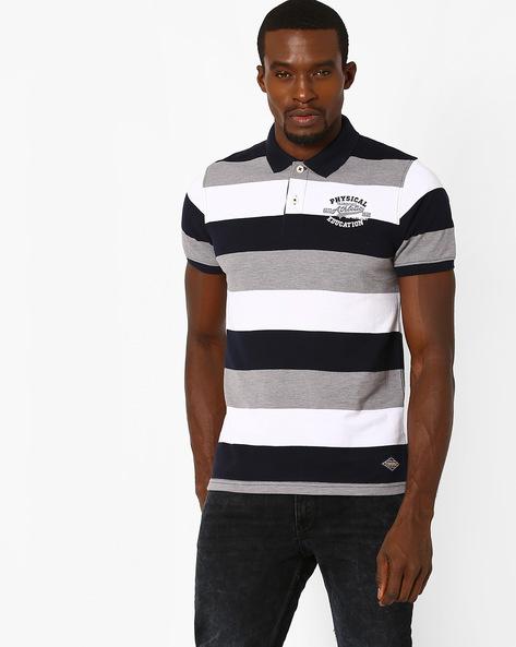 Striped Polo T-shirt By TEAM SPIRIT ( Greymelange )