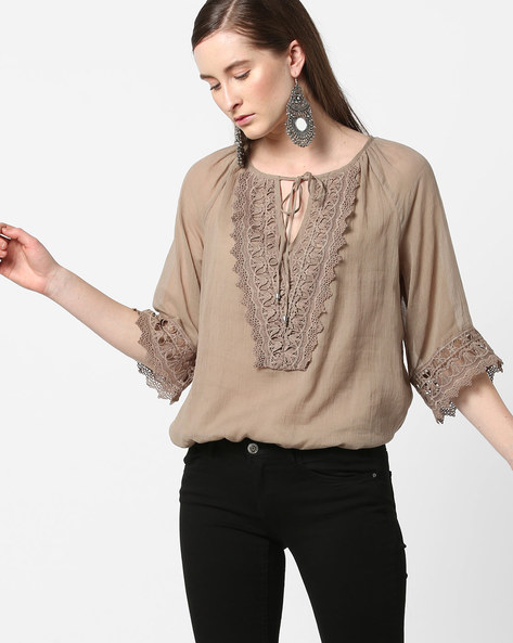Top With Lace Trim & Tie-Up By Rena Love ( Grey )
