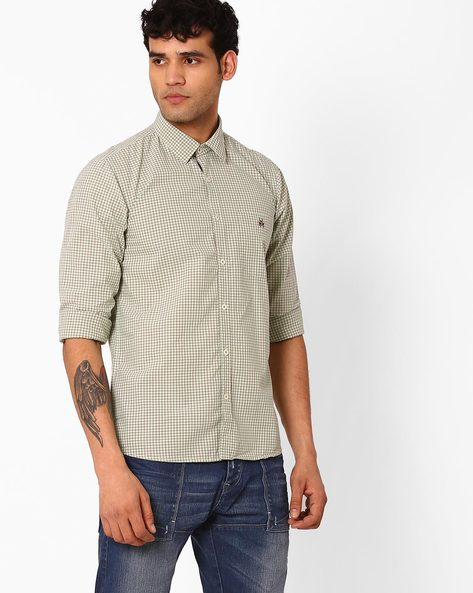 Slim Fit Checked Shirt With Patch Pocket By CRIMSOUNE CLUB ( Olive )