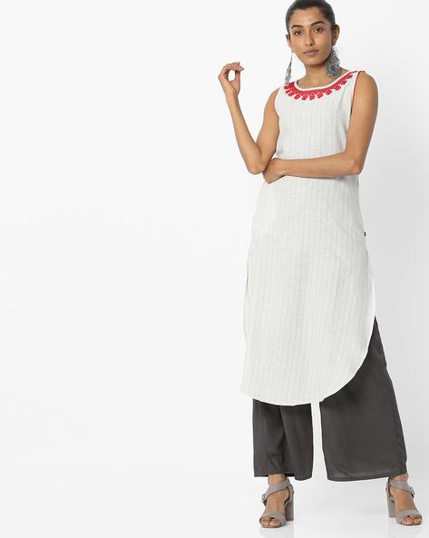 Sleeveless Striped Kurta With Embroidery By AVAASA MIX N' MATCH ( Offwhite )