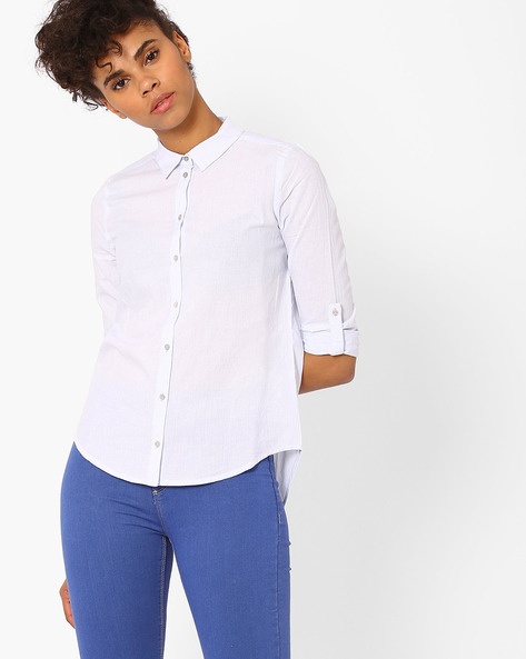 Striped Shirt With Roll-Tab Sleeves By Only ( Blue )
