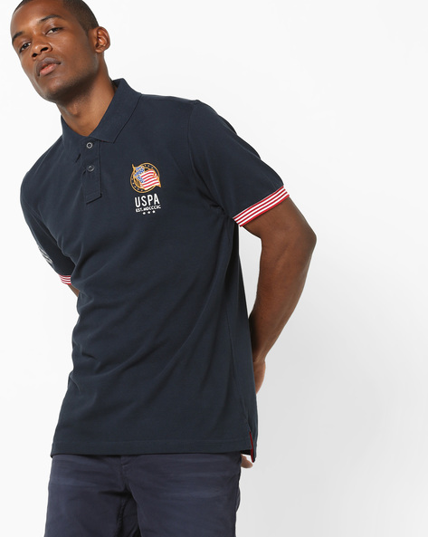 Slim Fit Polo T-shirt With Applique By US POLO ( Navy )
