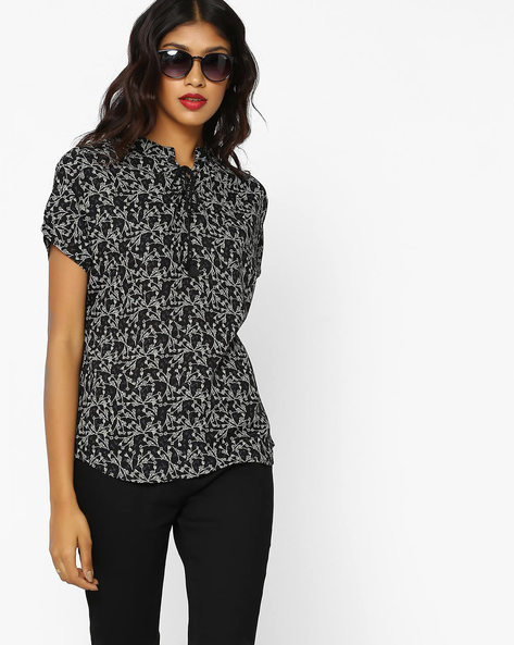 Floral Print Top With Lace-Up Fastening By DNMX ( Black )