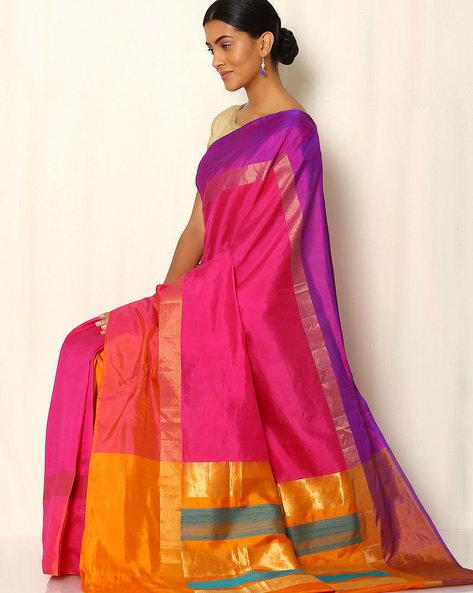 Pure Silk Saree With Zari Border By Rudrakaashe-MSU ( Multi )
