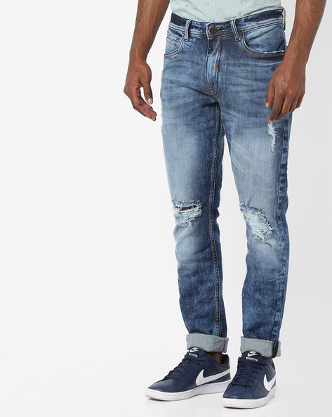 Cotton Stretch Slim Fit Jeans By Locomotive ( Blue )