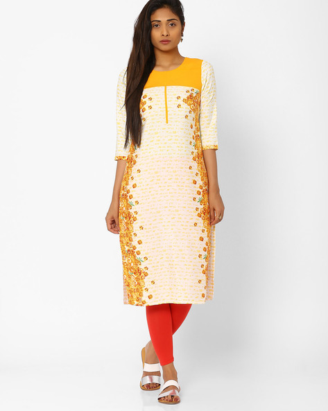 Printed Straight Kurta By AURELIA ( Yellow ) - 440686808002