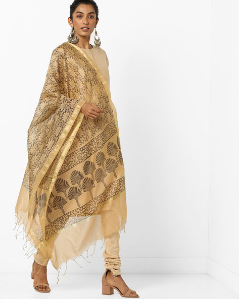 Floral Print Dupatta With Zari Border By Dupatta Bazaar ( Gold )