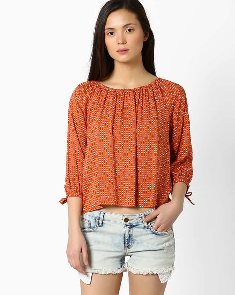 Printed Top With Sleeve Tie-Ups By FIG ( Red )