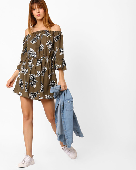 Floral Print Off-Shoulder Dress By Oxolloxo ( Khaki )