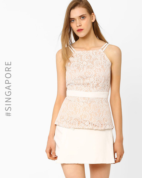 Strappy Lace Top With Cutaway Shoulders By MDS ( White )
