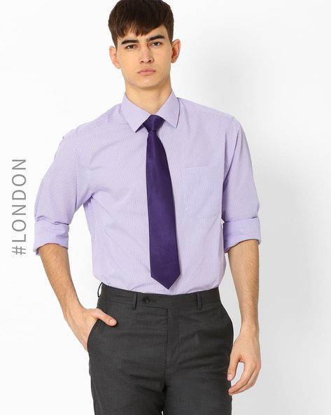 Pack Of 2 Shirts With Tie By Marks & Spencer ( Lilac )