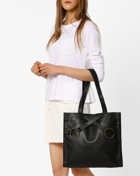 Tote Bag With Criss-Cross Detail By Pockit ( Black )
