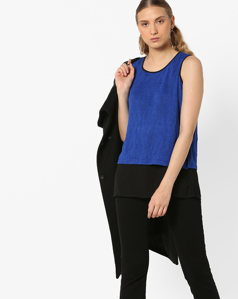 Colourblock Crew-Neck Layered Top By And ( Blue )