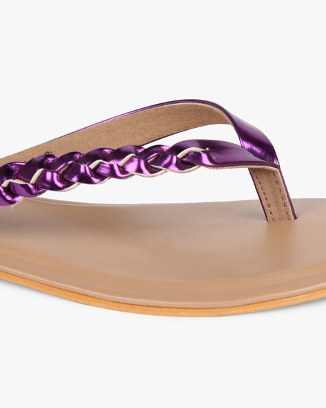 Thong Flat Sandals With Braided Straps By AJIO ( Purple )