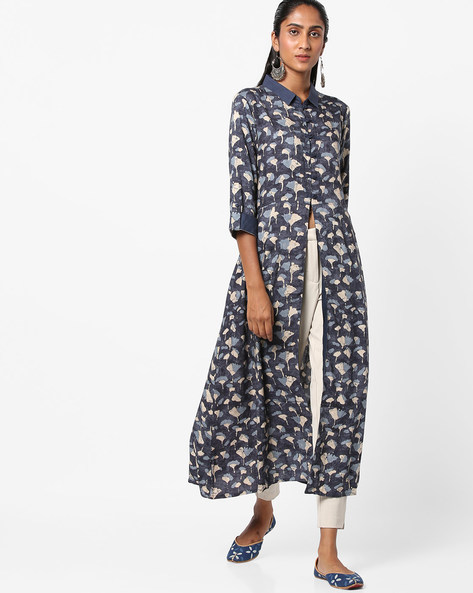 Printed Straight Kurta With Front Slit By Shree ( Blue )