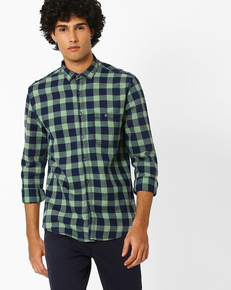 Slim Fit Washed Checked Shirt By Nature Casuals ( Multicolor )